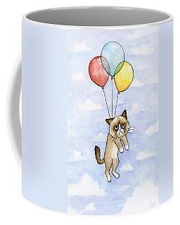 Grumpy Cat And Balloons Coffee Mug