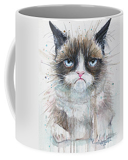 Grumpy Cat Watercolor Painting  Coffee Mug by Olga Shvartsur