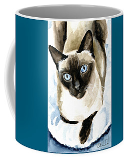 Coffee Mug featuring the painting Guardian Angel - Siamese Cat Portrait by Dora Hathazi Mendes
