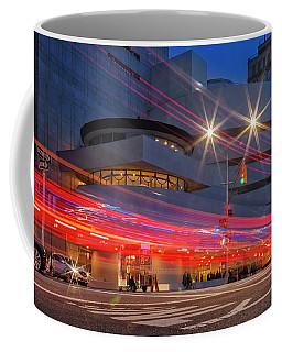 Coffee Mug featuring the photograph Guggenheim Museum Nyc Light Streaks by Susan Candelario