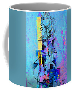 Guitar Abstract In Blue Coffee Mug