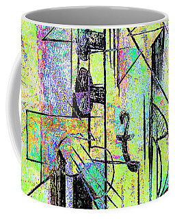 Guitar Abstract In Green Coffee Mug