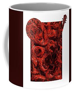 Guitar, Record, Red Coffee Mug