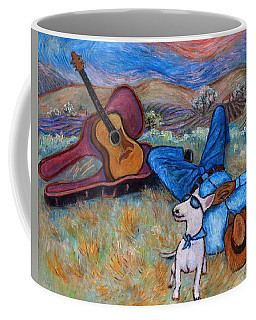 Coffee Mug featuring the painting Guitar Doggy And Me In Wine Country by Xueling Zou