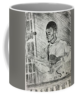 Coffee Mug featuring the mixed media Guitarist by Rebecca Davidson