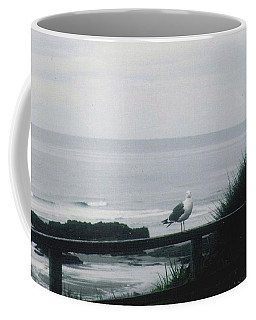 Coffee Mug featuring the photograph Gull On A Rail by Charles Robinson