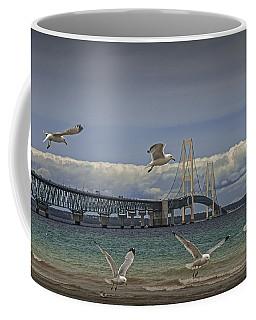 Gulls Flying By The Bridge At The Straits Of Mackinac Coffee Mug