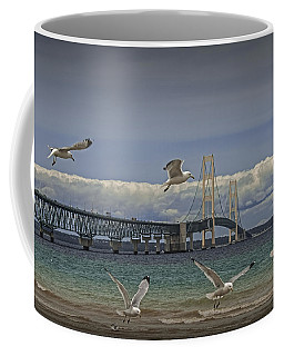 Gulls Flying By The Bridge At The Straits Of Mackinac Coffee Mug
