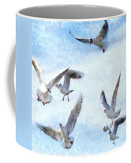 Gulls In Flight Watercolor Coffee Mug