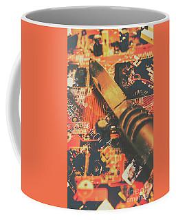 Hacking Knife On Circuit Board Coffee Mug