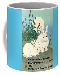 Coffee Mug featuring the painting Haiku  Rabbits Nibble Parsley by Pg Reproductions