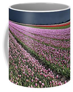 Half Side Purple Tulip Field Coffee Mug