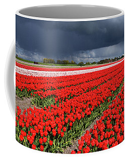 Half Side Red Tulips Field Coffee Mug by Mihaela Pater