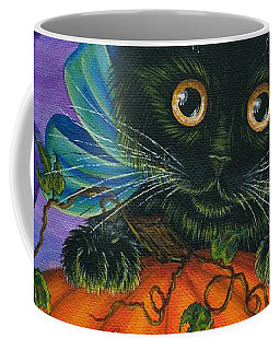 Coffee Mug featuring the painting Halloween Black Kitty - Cat And Jackolantern by Carrie Hawks