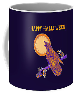 Coffee Mug featuring the drawing Halloween Crow And Moon by Tammy Wetzel