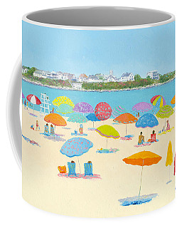 Hampton Beach Umbrellas Coffee Mug by Jan Matson