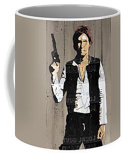 Han Solo Vintage Recycled Metal License Plate Art Portrait On Barn Wood Coffee Mug