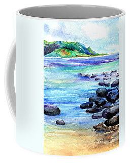 Coffee Mug featuring the painting Hanalei Bay Love by Marionette Taboniar