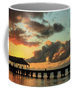 Hanalei Pier Sunset Panorama Coffee Mug