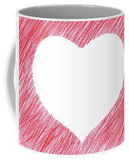 Hand-drawn Red Heart Shape Coffee Mug by GoodMood Art