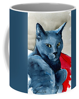 Coffee Mug featuring the painting Handsome Russian Blue Cat by Dora Hathazi Mendes