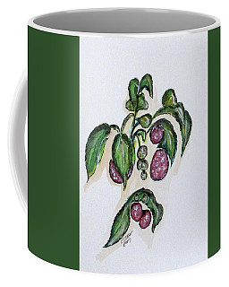 Coffee Mug featuring the painting Hanging Raspberries by Clyde J Kell