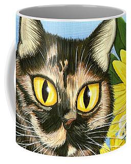 Hannah Tortoiseshell Cat Sunflowers Coffee Mug