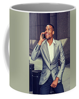 Happy African American Businessman Working In New York 15082323 Coffee Mug