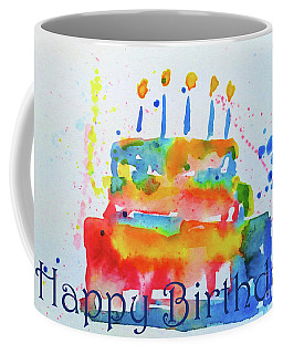 Coffee Mug featuring the painting Happy Birthday Blue Cake  by Claire Bull