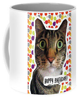 Happy Birthday Cat- Art By Linda Woods Coffee Mug