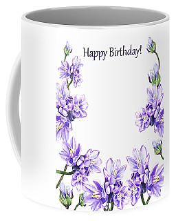 Happy Birthday Purple Flowers Coffee Mug