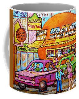 Happy Days At The Orange Julep Paintings C Spandau Decarie Strip Montreal Memories Quebec Art        Coffee Mug