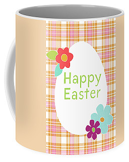 Happy Easter Egg Pink Plaid- Art By Linda Woods Coffee Mug