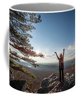 Happy Female Hiker At The Summit Of An Appalachian Mountain Coffee Mug