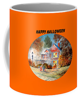 Coffee Mug featuring the painting Happy Halloween by Bill Holkham