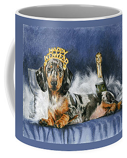 Coffee Mug featuring the mixed media Happy New Year by Barbara Keith