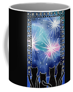 Coffee Mug featuring the painting Happy New Year Black Cat Card by Dora Hathazi Mendes