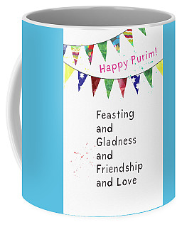 Coffee Mug featuring the mixed media Happy Purim Card- Art By Linda Woods by Linda Woods