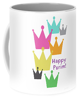 Coffee Mug featuring the mixed media Happy Purim Crowns - Art By Linda Woods by Linda Woods