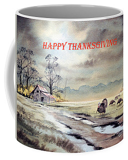 Coffee Mug featuring the painting Happy Thanksgiving  by Bill Holkham