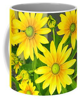 Happy Yellow Summer Cone Flowers In The Garden Coffee Mug