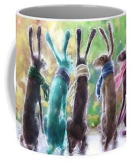 Hares With Scarves Coffee Mug