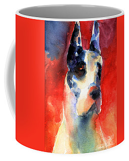 Harlequin Great Dane Watercolor Painting Coffee Mug