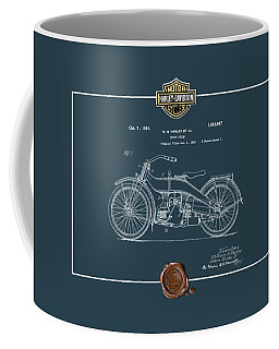 Coffee Mug featuring the digital art Harley-davidson 1924 Vintage Patent Blueprint  by Serge Averbukh
