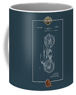 Coffee Mug featuring the digital art Harley-davidson 1924 Vintage Patent Blueprint With 3d Badge by Serge Averbukh