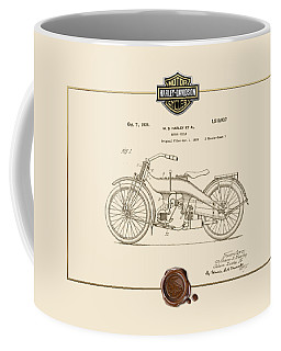 Coffee Mug featuring the digital art Harley-davidson 1924 Vintage Patent Document  by Serge Averbukh
