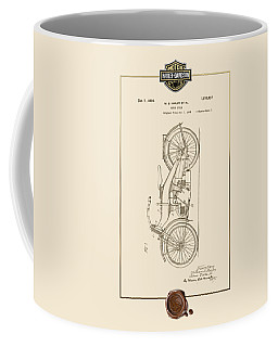 Coffee Mug featuring the digital art Harley-davidson 1924 Vintage Patent Document With 3d Badge by Serge Averbukh