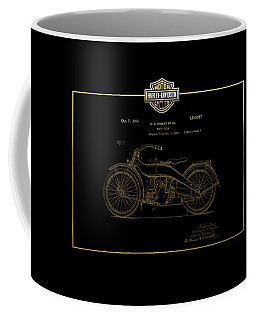Coffee Mug featuring the digital art Harley-davidson 1924 Vintage Patent In Gold On Black by Serge Averbukh
