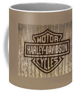 Harley Davidson Logo On Wood Coffee Mug