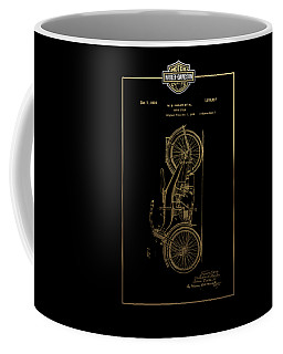 Coffee Mug featuring the digital art Harley-davidson Vintage 1924 Patent In Gold With 3d Badge On Black by Serge Averbukh